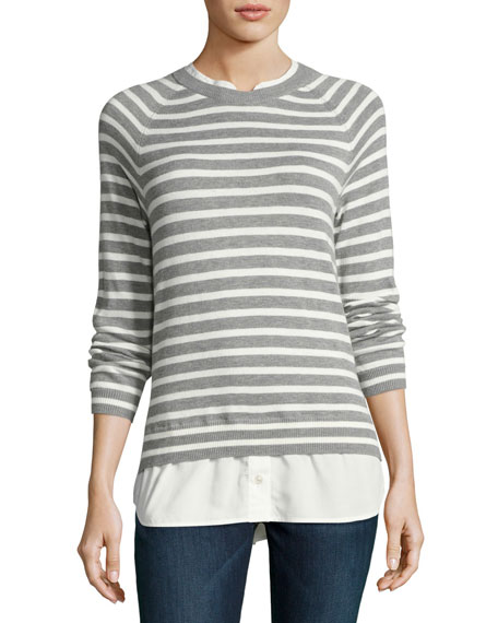 Joie Zaan Striped Sweater-Shirt Combo Top
