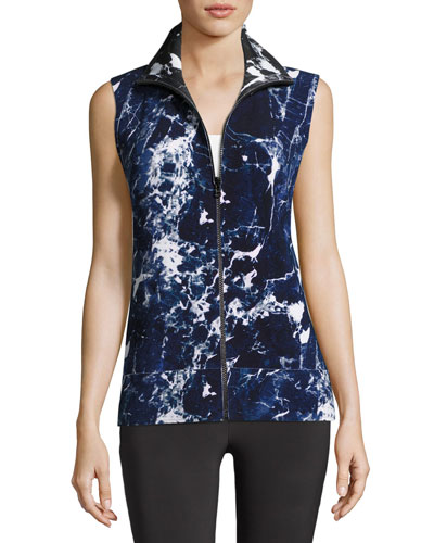 Sleeveless Marble-Printed Turtle Jacket