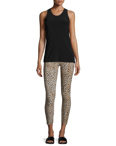 Cropped Leopard-Print Leggings, Multi Pattern