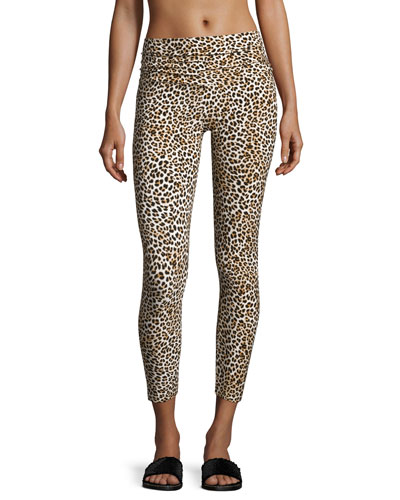 Cropped Leopard-Print Leggings, Multi Pattern