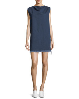 Fringed Denim Rectangle Mini Dress