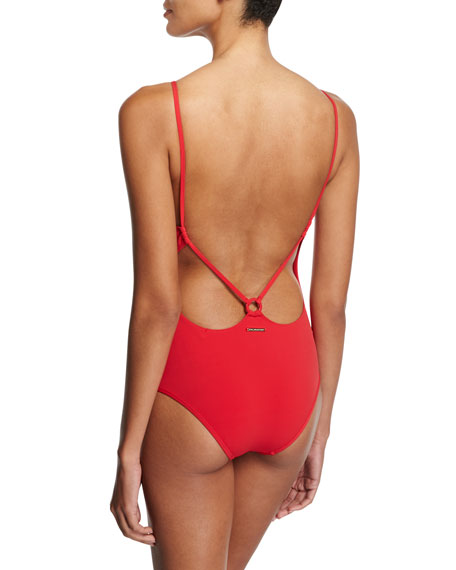 Broderie Anglaise One-Piece Swimsuit, Red