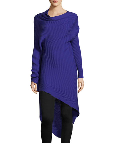 Asymmetric Ribbed Wool Sweaterdress