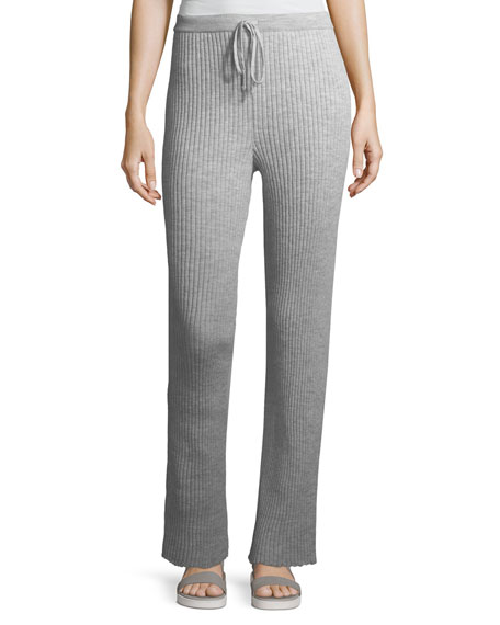 Ribbed Knit Drawstring Pajama Trousers
