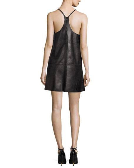 Vikki Racerback Studded Leather Cocktail Dress