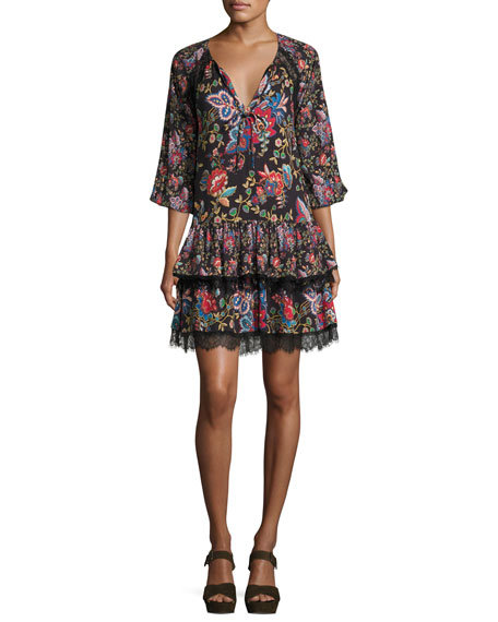 Alice + Olivia Lakita Raglan Tiered Tunic Dress