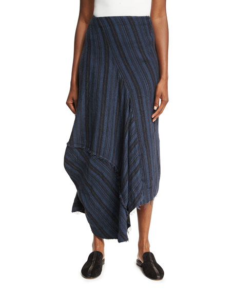 Suse Rustic Mixed-Stripe Midi Skirt