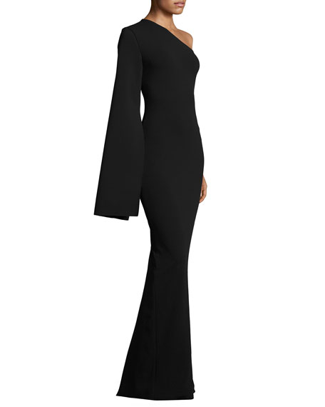 Ysabel One-Shoulder Maxi Dress, Black