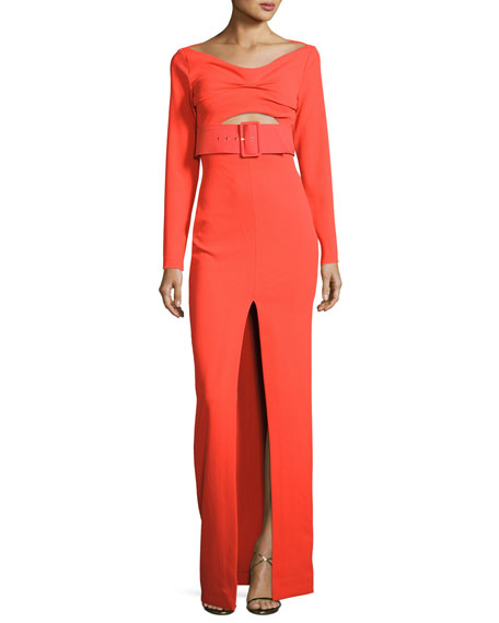 Solace London Adalene Long-Sleeve Belted Maxi Dress, Red