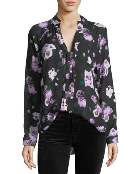 Liana Floral-Printed Silk Blouse