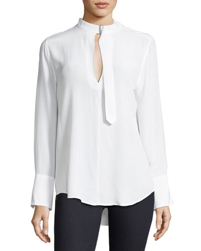 Janelle Collared Long-Sleeve Silk Blouse