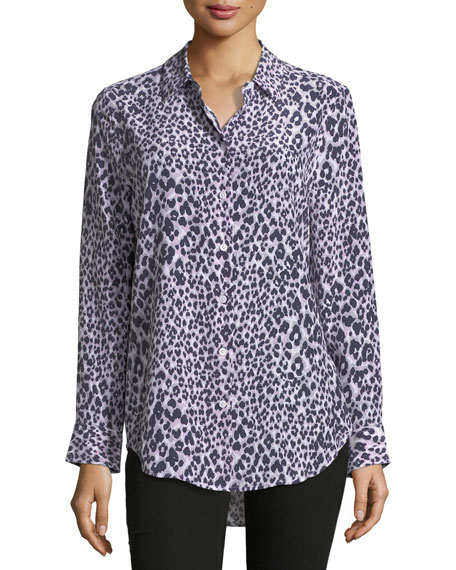 Equipment Essential Long-Sleeve Leopard-Print Silk Blouse