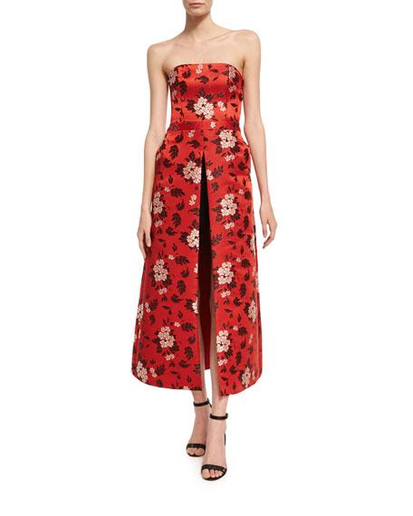 Alice + Olivia Jeri Strapless Floral-Print Romper W/
