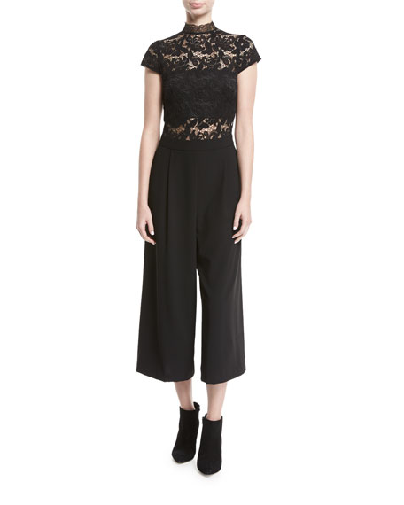Elysia Lace Pleated Gaucho Jumpsuit