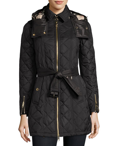 Burberry Baughton Quilted Belted Parka Jacket Black