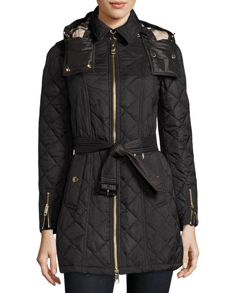 Baughton Quilted Belted Parka Jacket, Black