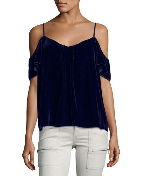 Adorlee E Cold-Shoulder Velvet Top