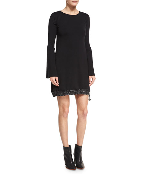 Long-Sleeve Sweater Dress W/ Drawstring Hem, Black