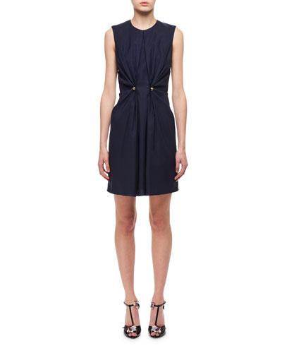Jewel-Neck Ruched Dress W/ Studs, Navy