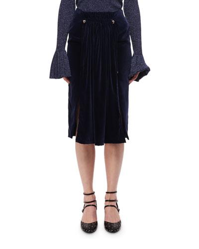 Pleated Velvet Midi Skirt W/ Studs, Navy
