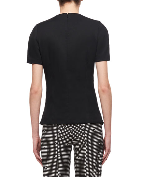 High-Neck Short-Sleeve Ruffled Top