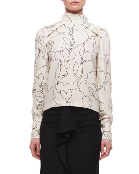 Draped High Neck Long-Sleeve Printed Blouse