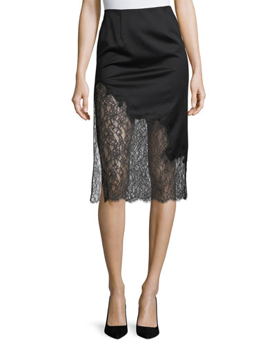 Evana Side-Slit Midi Skirt w/ Lace
