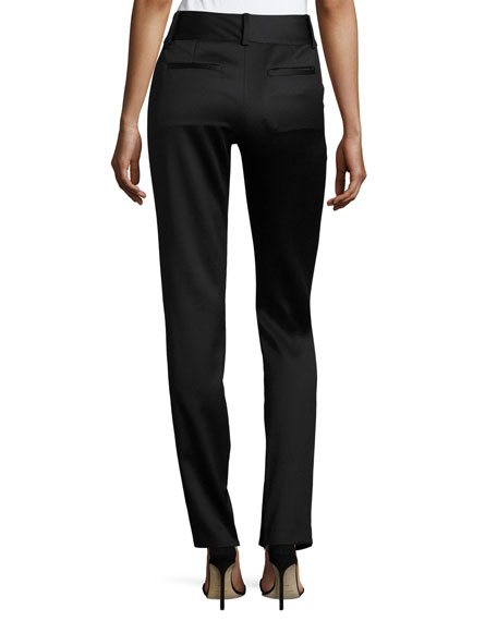 Cadence Zip-Hem Straight-Leg Trousers