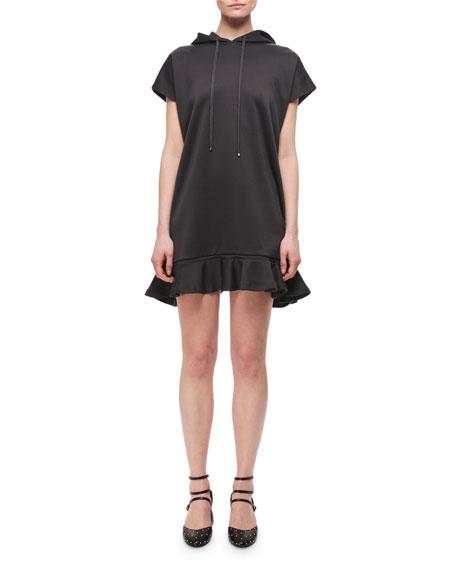 Technical Jersey Hooded Ruffled Dress, Gray