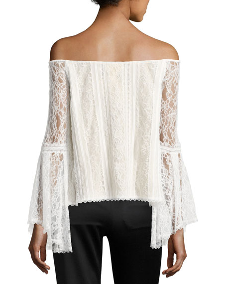 Shera Off-the-Shoulder Trumpet-Sleeve Lace Blouse