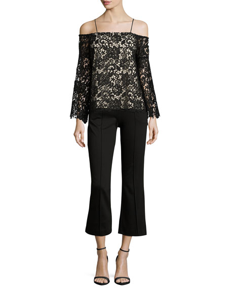 Prena Trumpet-Sleeve Off-the-Shoulder Lace Top