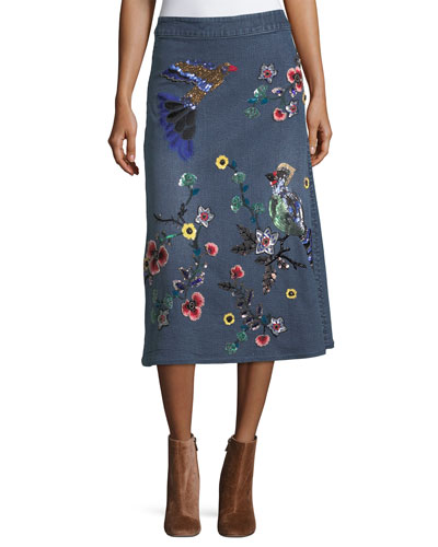 Libbie Embellished A-Line Denim Midi Skirt