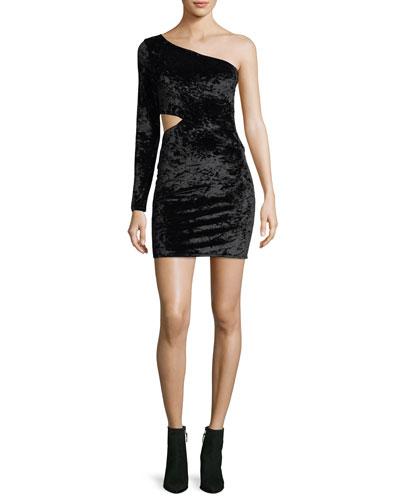 Malia One-Shoulder Crushed Velvet Cocktail Dress