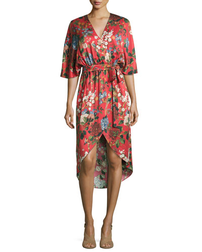 Clarine Floral-Print Silk Wrap Dress