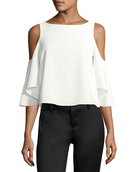 Coley Boat-Neck Cold-Shoulder Crepe Top