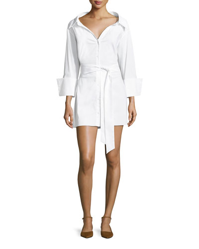 Tate Wide-Neck Button-Front Poplin Shirtdress
