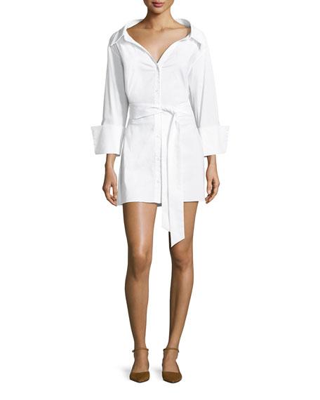 Tate Wide-Neck Button-Front Poplin Shirtdress