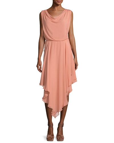 Anastasia Draped Chiffon Dress W/ Asymmetric Hem
