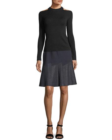 Becky Paneled Mixed-Media Skirt