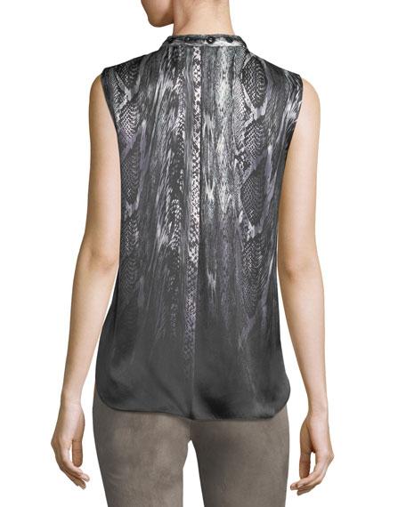 Terri Sleeveless Pleated Snakeskin-Print Silk Blouse