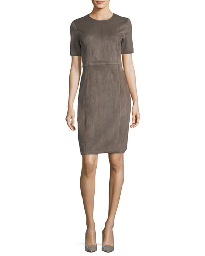 Emily Short-Sleeve Suede Sheath Dress