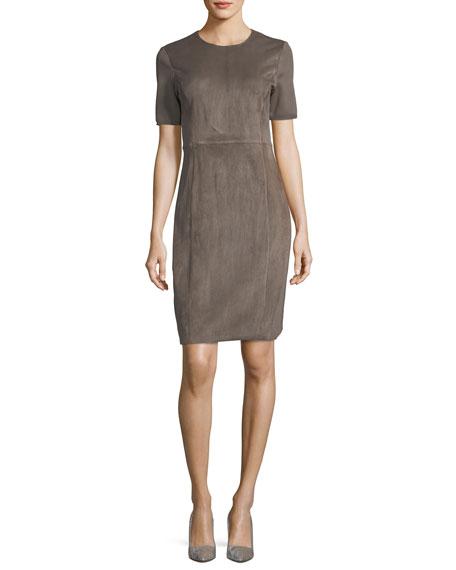 Emily Short-Sleeve Suede Sheath Dress