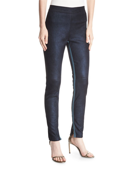 Roxanna Skinny Denim-Effect Leather Pants