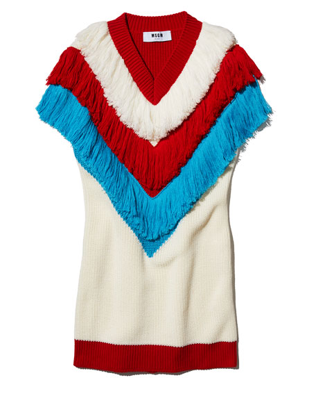 V-Neck Sleeveless Fringe Sweater Dress, White Pattern
