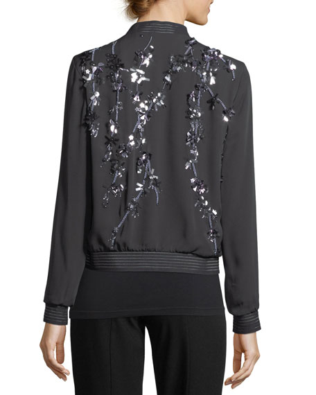 Brandy Embellished Silk Bomber Jacket