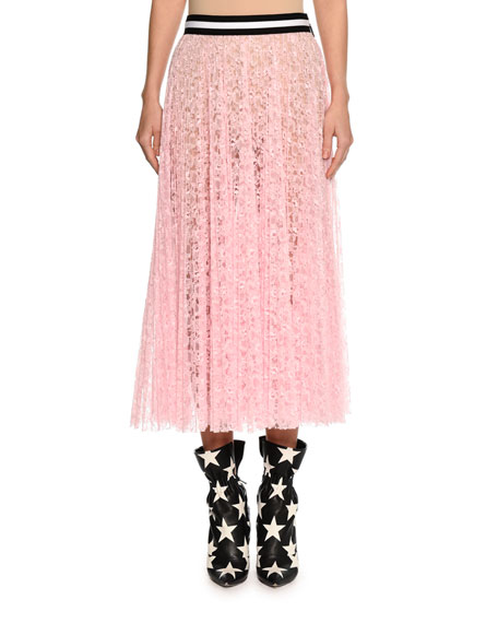 Lace A-Line Midi Skirt, Pink