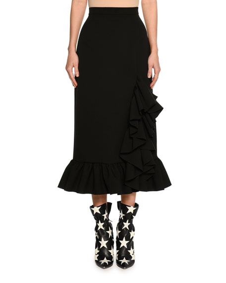 Ruffled Hem High-Rise Midi Skirt, Black