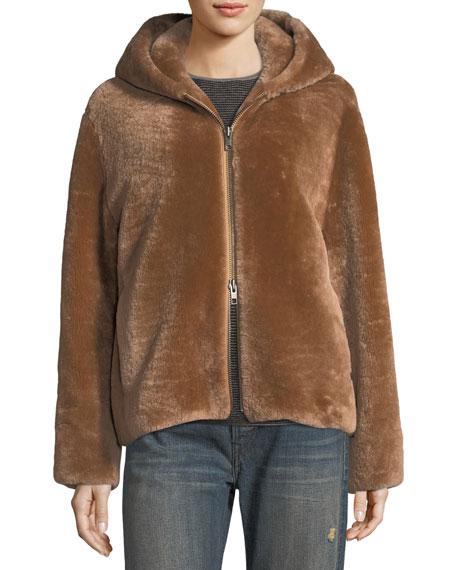 Shearling Long-Sleeve Hoodie Coat