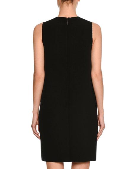 Embellished Sleeveless Shift Dress, Black/White