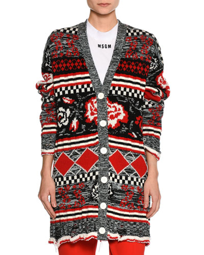 Floral Intarsia Cardigan Sweater, Multi Pattern